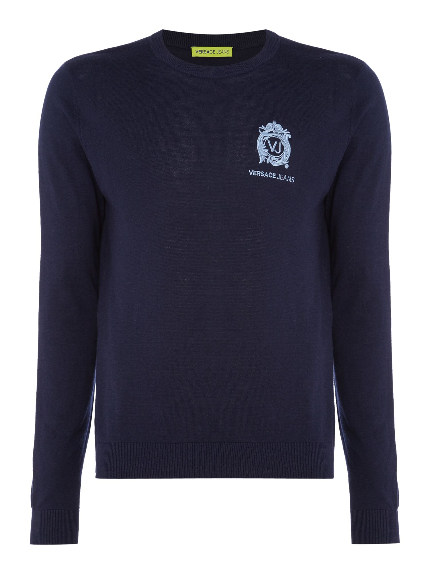Mens Versace Jeans Embroidered logo crew neck knitted jumper Navy