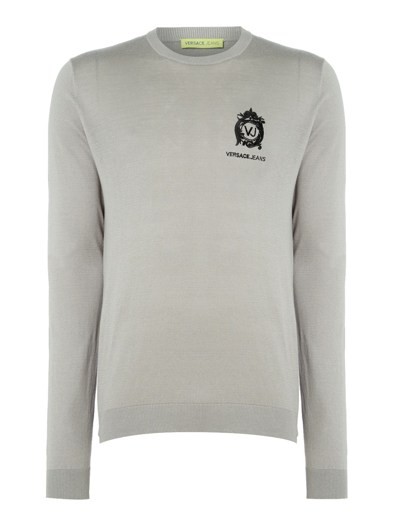 Mens Versace Jeans Embroidered logo crew neck knitted jumper Grey