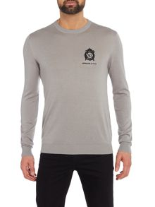 Versace Embroidered logo crew neck knitted jumper