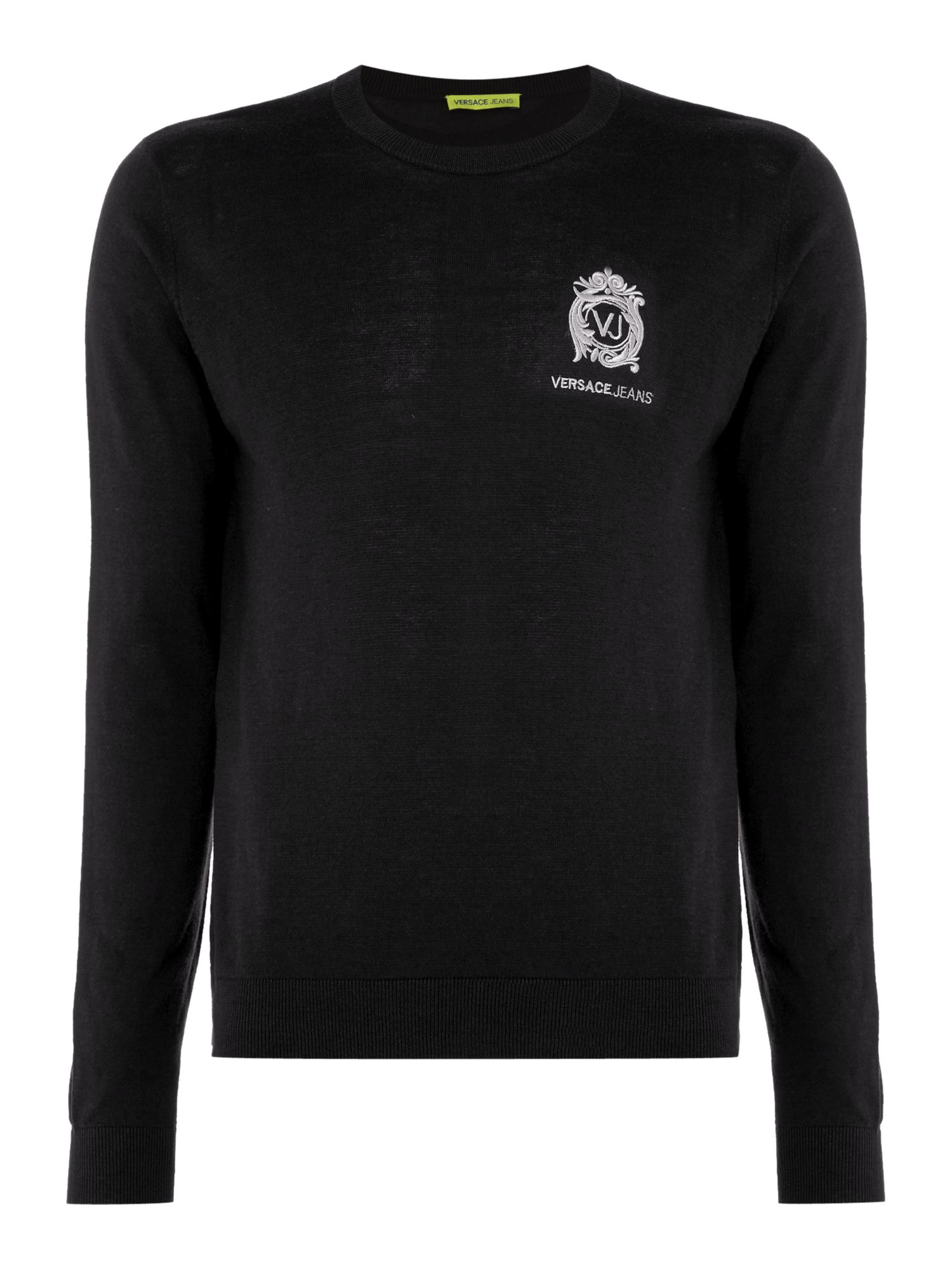 Mens Versace Jeans Embroidered logo crew neck knitted jumper Black