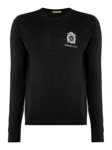Versace Jeans Embroidered logo crew neck knitted jumper