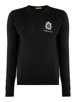 Embroidered logo crew neck knitted jumper