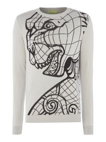 Versace Jeans Tiger pattern crew neck knitted jumper