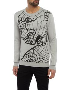 Versace Tiger pattern crew neck knitted jumper