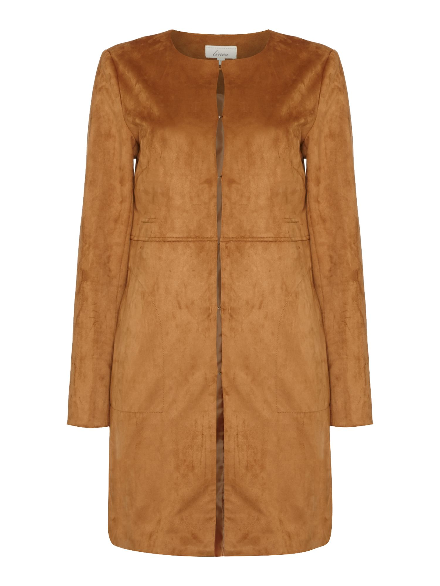 Linea SIENNA SUEDETTE EDGE TO EDGE COAT, Tan