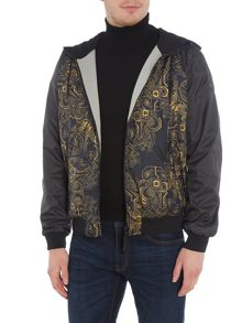 Versace Jeans Front panel print reversable hoodied jacket