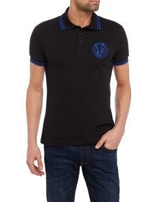 Versace Jeans Slim fit tipped embroidered logo polo shirt