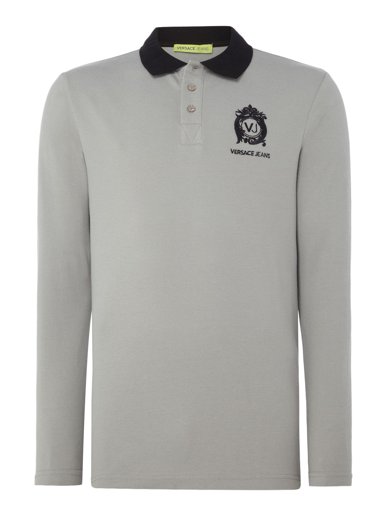 Versace Jeans Men's Versace Jeans Regular fit embroidered logo long sleeve polo, Grey