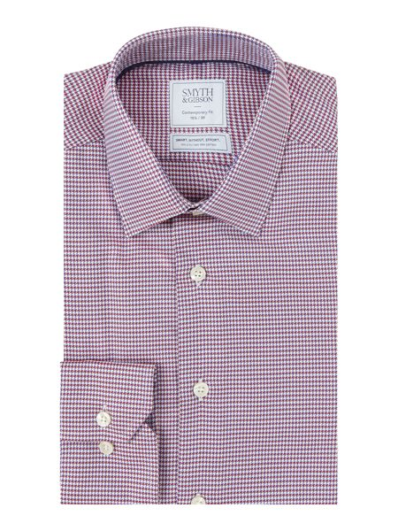Smyth and Gibson Reg Fit Houndstooth Twill Non Iron Shirt