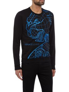 Versace Jeans Embroidered tiger crew neck sweat top