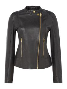 In Wear Collarless leather jacket