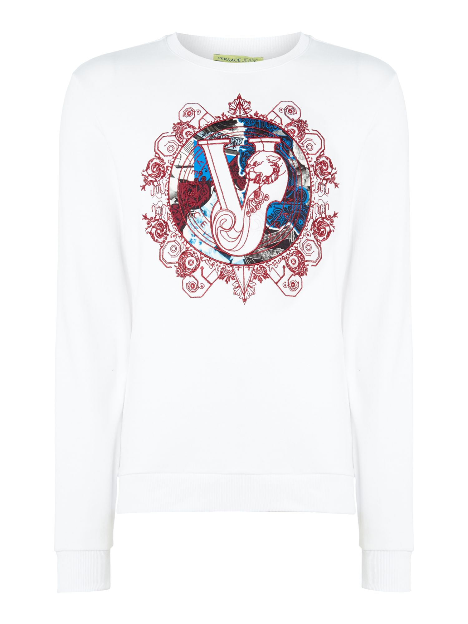 Men's Versace Jeans Embroidered circle logo crew neck sweat top, White