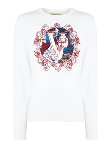 Versace Jeans Embroidered circle logo crew neck sweat top