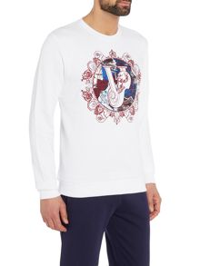 Versace Embroidered circle logo crew neck sweat top