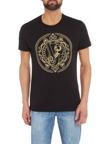 Versace Jeans Regular fit large embroidered logo t-shirt