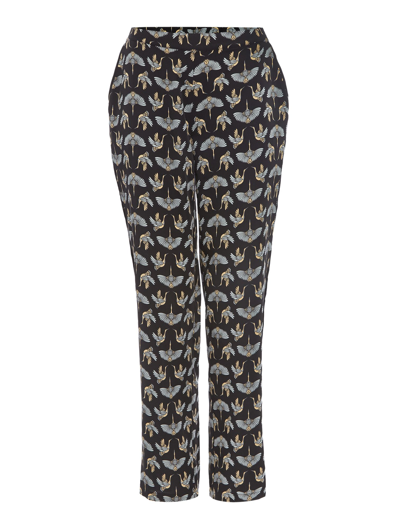 Biba Biba Fan crane print trousers, Multi-Coloured