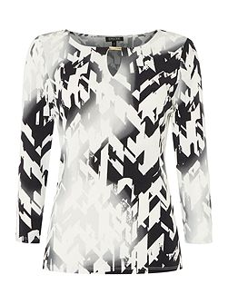 Long sleeved top with abstract print