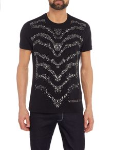 Versace Slim fit studded wave pattern t-shirt