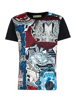 Regular fit all-over print collage t-shirt