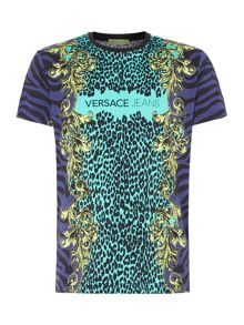 Versace Jeans Slim fit leopard print collage t-shirt