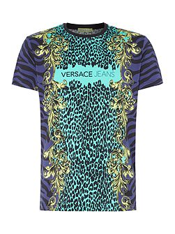 Slim fit leopard print collage t-shirt