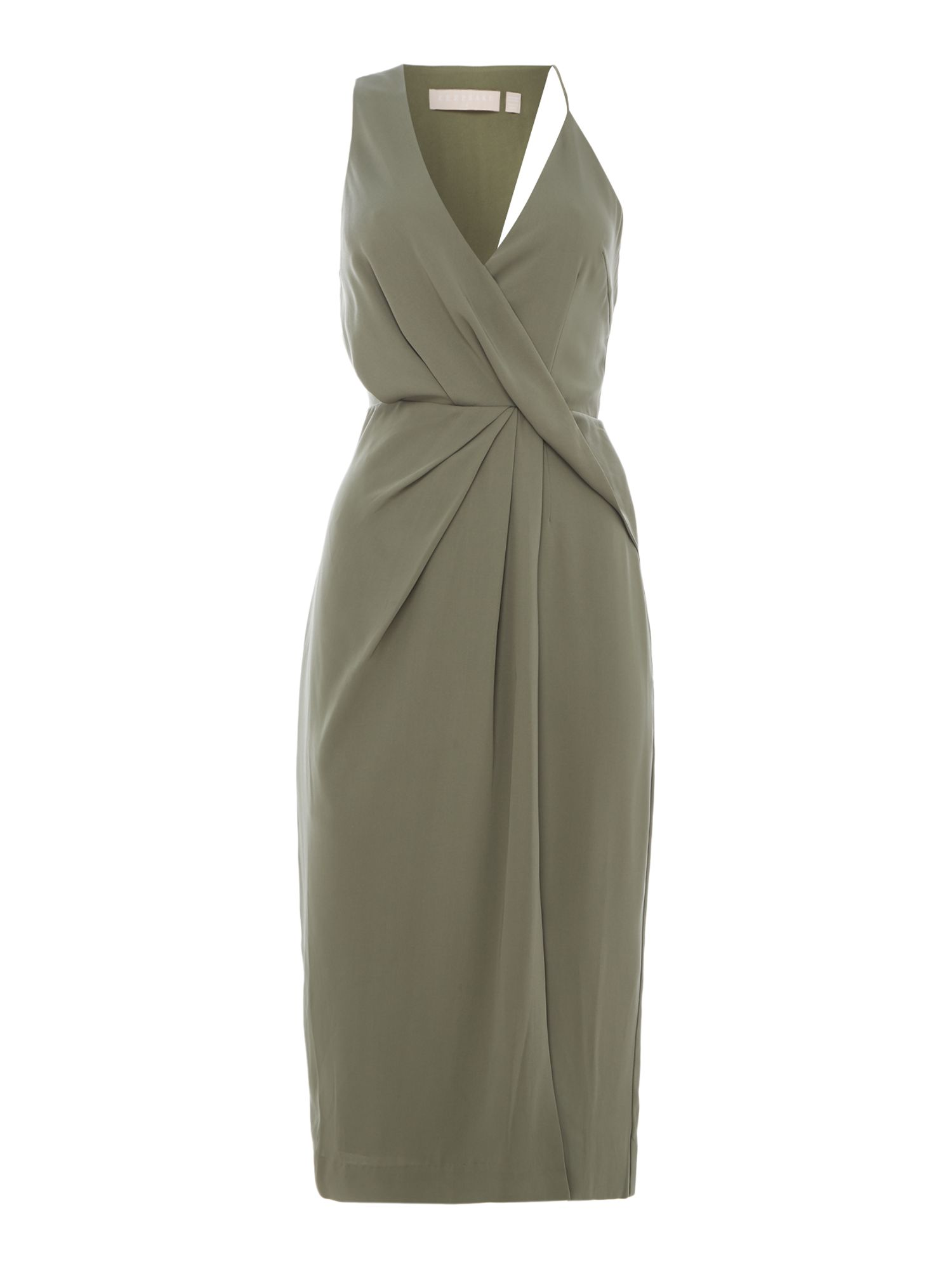 Keepsake Draped midi dress, Olive