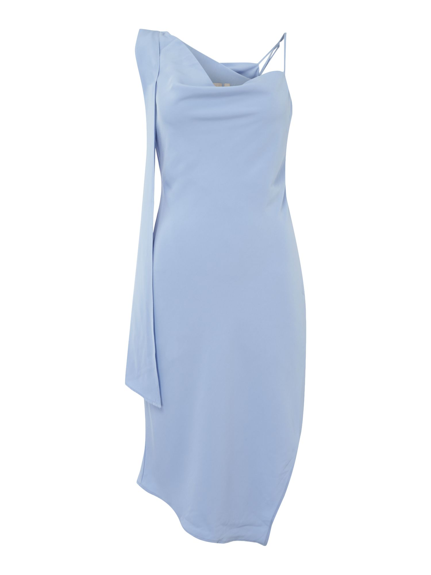 Keepsake Shoulder Draped Mini Dress, Pastel Blue