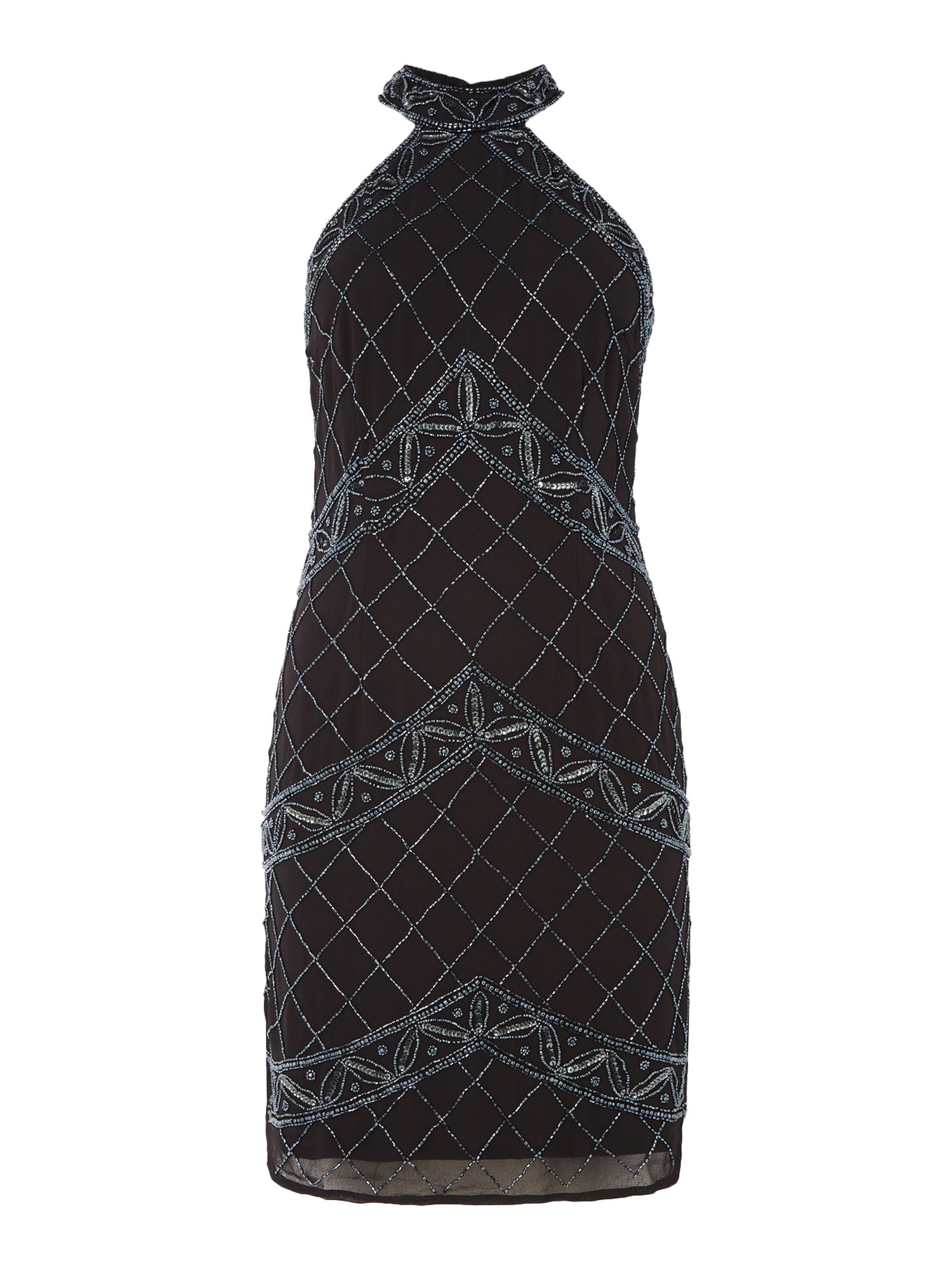 Lace and Beads Pocahuntus halterneck bodycon dress, Black
