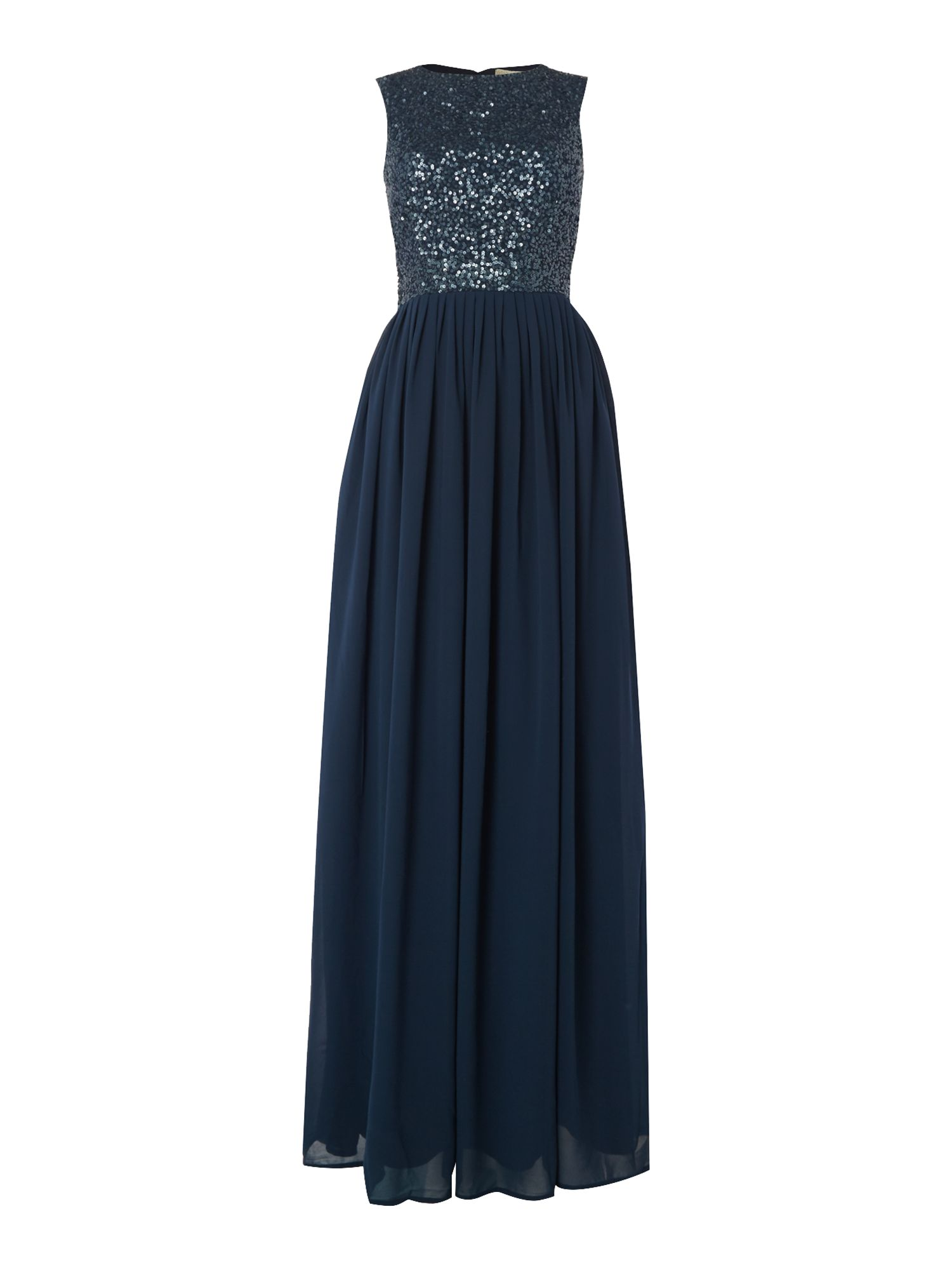 Lace and Beads Embellished maxi with cutout back, Blue