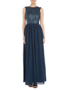 Lace and Beads Embellished maxi with cutout back