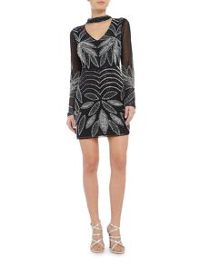 Lace and Beads Sun Flower plunge neck bodycon minidress