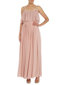 Lace and Beads Bardot neckline maxi dress