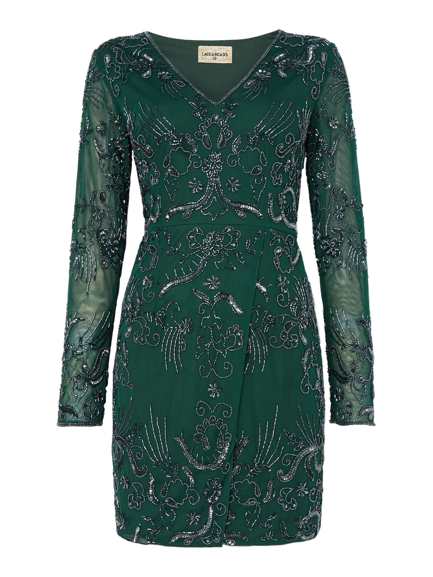 Lace and Beads Lace and Beads Milan v neck embellished bodycon dress, Bottle Green