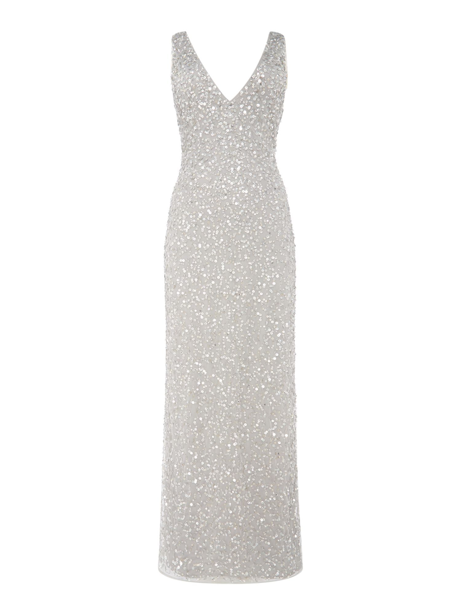 Lace and Beads Lace and Beads Embellished plung neckline maxi dress, Light Grey