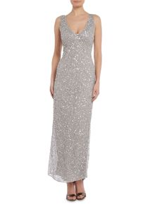Lace and Beads Embellished plung neckline maxi dress