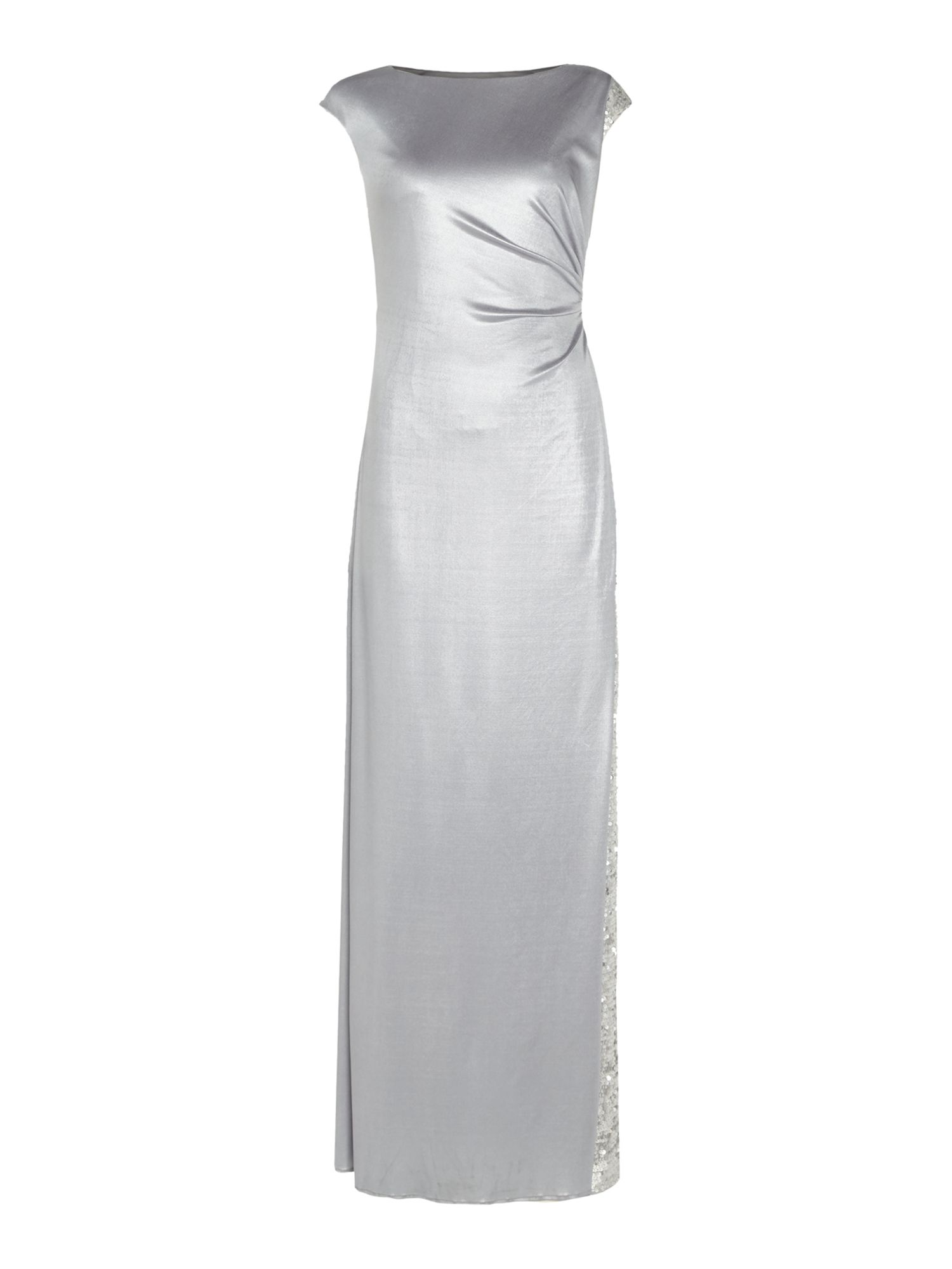 Adrianna Papell Dress cap sleeve silky jersey with split, Silver