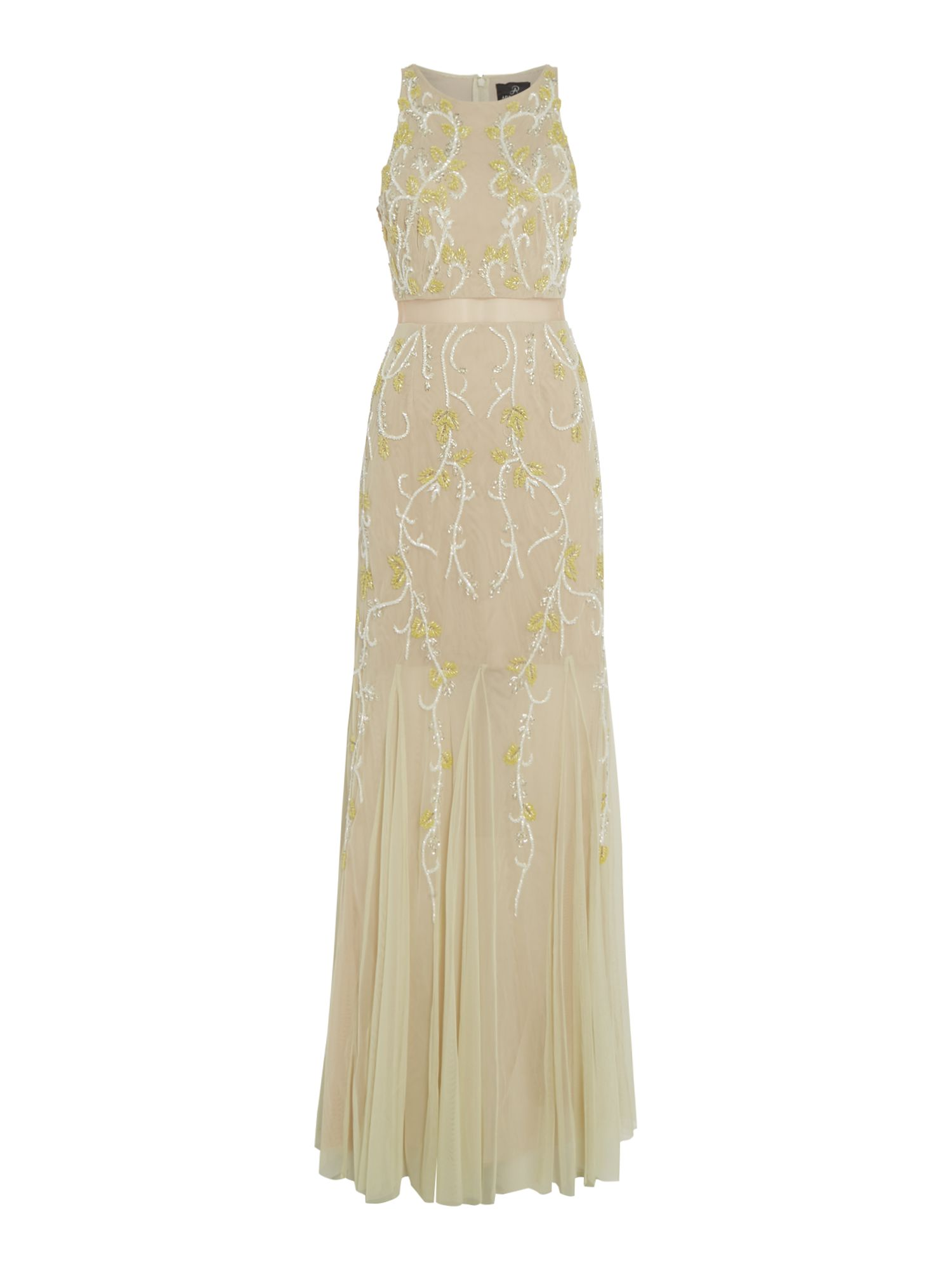 Adrianna Papell Sleeveless dress embellished maxi, Yellow