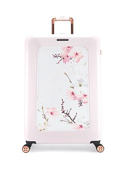 Oriental blossom 8 wheel large suitcase