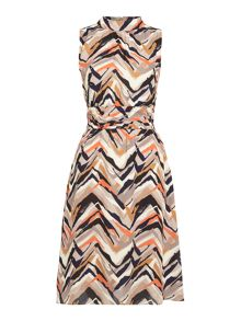 Linea Leela graphic multi stripe day dress