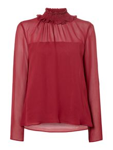 Biba High neck ruffle detail blouse