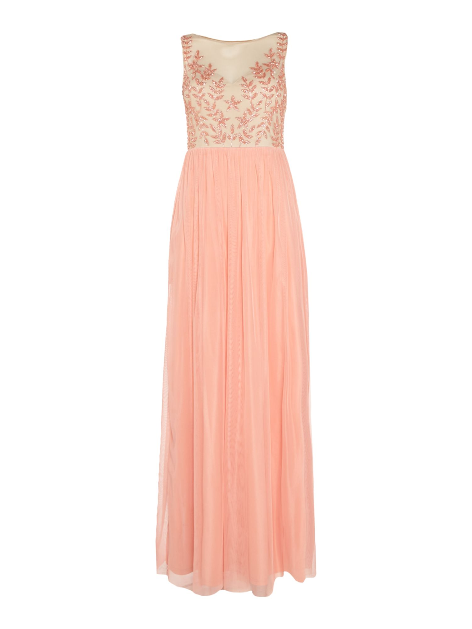 Adrianna Papell Beaded top tulle gown, Coral