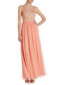 Adrianna Papell Beaded top tulle gown