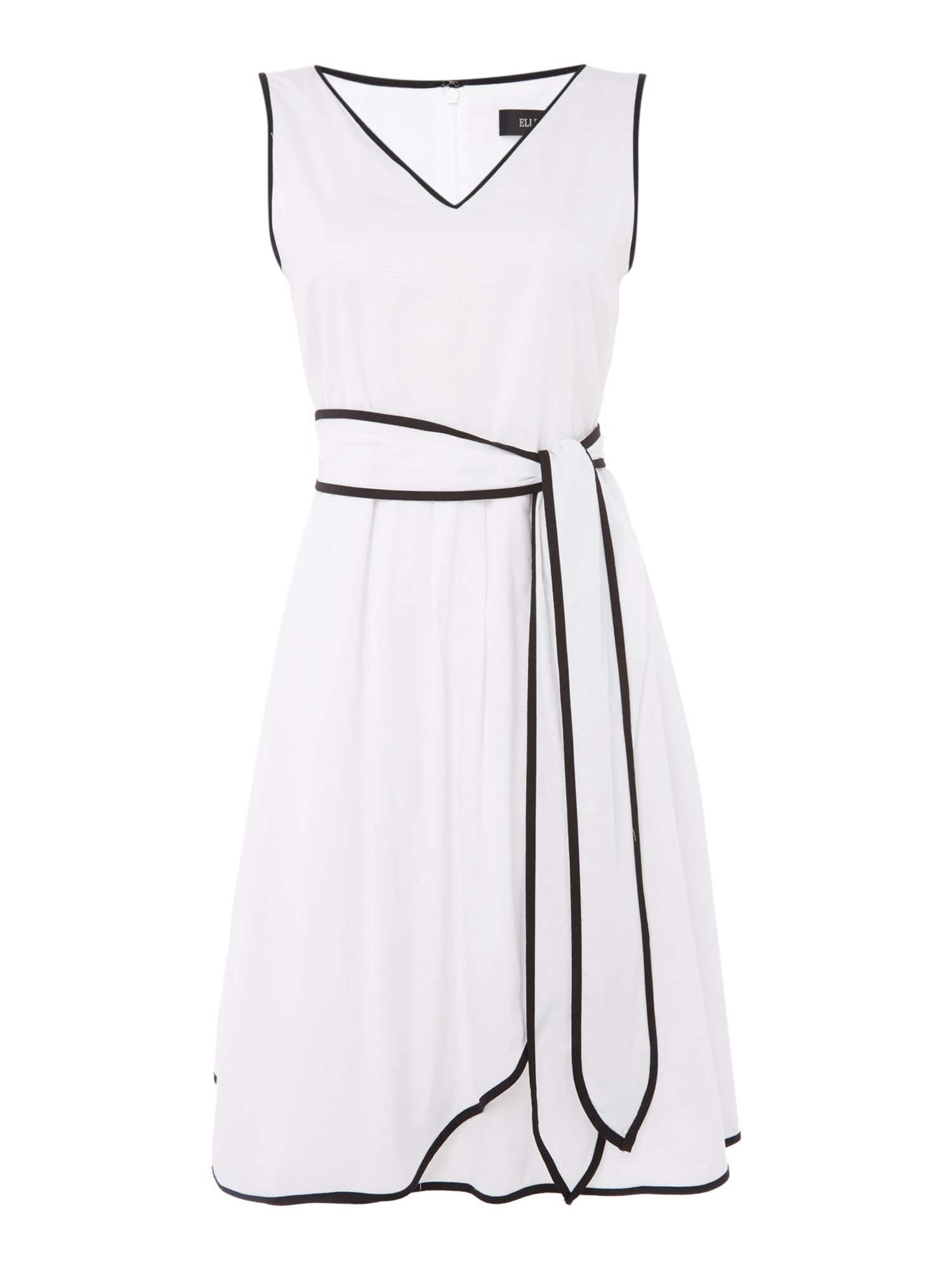 Ellen Tracy Short sleeve v neck wrap dress, Black White