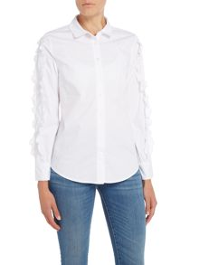 Lost Ink Longsleeve White Ruffle Top