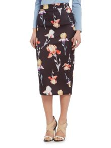 Lost Ink Print Pencil Skirt