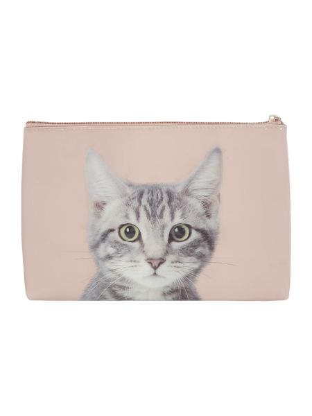 Catseye Tabby on Taupe Large Pouch