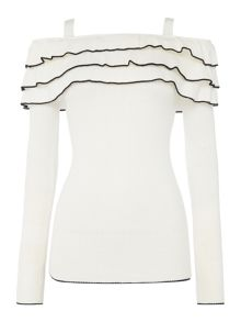 Lost Ink Longsleeve Cold Shoulder Ruffle Jumper