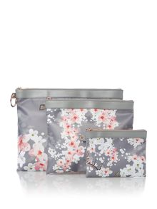 Ted Baker Blossom print triple pouch set