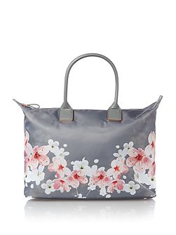 Large blossom print tote bag
