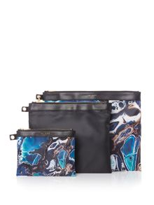 Ted Baker Blue lagoon print triple pouch set